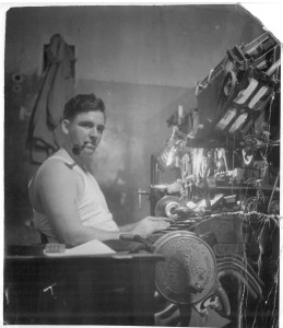 At his linotype machine in Europe, between 1943 and 1945