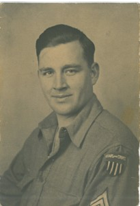 "A wartime portrait, probably 1944. HIs ""Stars & Stripes"" insignia shows."