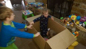 Kids know. Sometimes playing inside the box is better than all those toys outside the box.