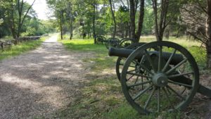 At the Pea Ridge National Military Park, canon are placed strategically, near where actual fighting took place.