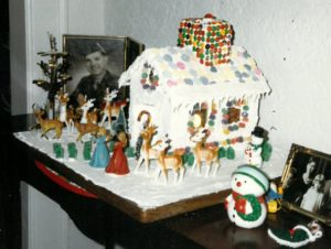 The 1987 version in NC. I note we must not have had red and green M&Ms, and we used a white light inside the house.
